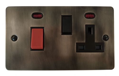 G&H FSL29B Flat Plate Slate 45 Amp DP Cooker Switch & 13A Switched Socket